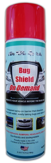 Bug Shield On Demand Now In Aerosol Spray Cans. Just spray on. Protects Automobiles from bug damage. Hose off. Love Bugs wash right off!